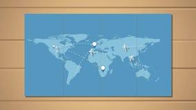 Aeroplanos que vuelan según las rutas alrededor del mundo stock de ilustración