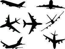 Aeroplanos 1 silueta del vector Foto de archivo libre de regalías