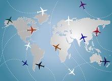 Aeroplanos y azul del mapa Fotografía de archivo libre de regalías