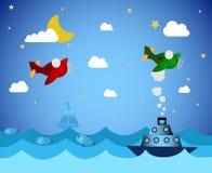 Aeroplanos y barco Foto de archivo libre de regalías