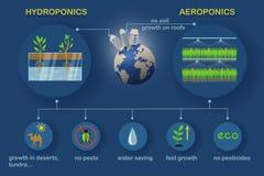 Aeroponic och hydroponic system royaltyfria foton