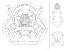 Aeroporto, aeroplano, scuola pilota, emblema EPS8 del club dell'aria Immagini Stock Libere da Diritti