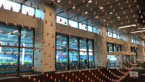 Aeroporto cinético de Changi da chuva filme