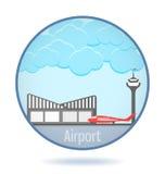 Aeroporto colorato nel telaio del cerchio illustrazione di stock