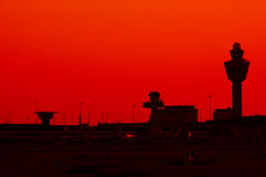 Aeroporto da silhueta Foto de Stock Royalty Free