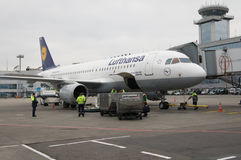 Aeroporto de Domodedovo, Moscou - 11 de novembro de 2010: Bagagem que carrega a Airbus A320-200 de Lufthansa Fotografia de Stock