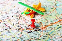 Aeroporto della mappa di Bucuresti, Romania fotografia stock