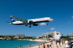 Aeroporto della spiaggia di Maho Fotografia Stock