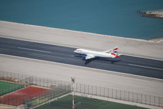 Aeroporto di Gibilterra di decollo Immagini Stock