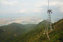 Aeroporto di Hong Kong dalla cabina di funivia Fotografie Stock