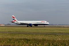 Aeroporto di Schiphol, l'Olanda Settentrionale/Paesi Bassi - 16 febbraio 2019: British Airways Airbus A321neo G-NEOS immagini stock