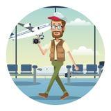 aeroporto do tampão da câmera do viajante do homem da barba ilustração do vetor