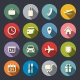 Aeroporto ed icone del piano di servizi di linee aeree Fotografia Stock Libera da Diritti