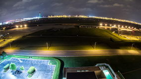 Aeroporto Fisheye di lasso di tempo dell'aeroplano stock footage