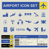 Aeroporto, grupo do ícone da viagem aérea Fotos de Stock