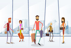 Aeroporto Hall Departure Terminal della gente del viaggiatore illustrazione vettoriale