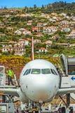 Aeroporto Madeira - Airbus A320 Foto de Stock Royalty Free