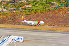 Aeroporto Madeira - Airbus A320 Imagem de Stock Royalty Free