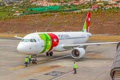 Aeroporto Madeira - Airbus A320 Foto de Stock