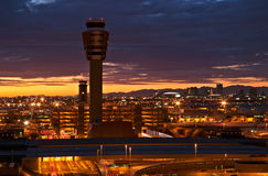 Aeroporto no por do sol Imagens de Stock Royalty Free