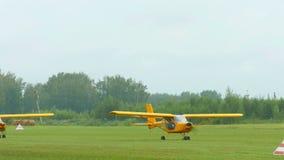 Aeroprakt A-22 light aircrafts on airfield stock video footage