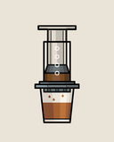 AeroPress Coffee Maker. An illustration of AeroPress Coffee Maker. One of manual brewing methods royalty free illustration
