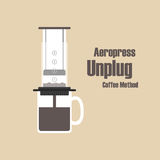 Aeropress. Unplug coffee methods, pastel style Royalty Free Stock Image