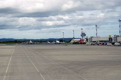 Aeropuerto国际丹尼尔Oduber Quiros LIR机场在哥斯达黎加 免版税库存图片