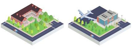 Aeropuerto de la ciudad y museo isométricos del juguete ilustración del vector