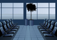 Aeropuerto de la sala de espera. azul. Imagen de archivo