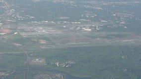 Aeropuerto de la visión aérea en Charlotte almacen de video