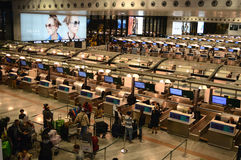 Aeropuerto de Milano Malpensa del pasillo del incorporar Imagen de archivo