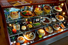 Aeropuerto de Shanghai Pudong, China Café del escaparate Foto de archivo libre de regalías