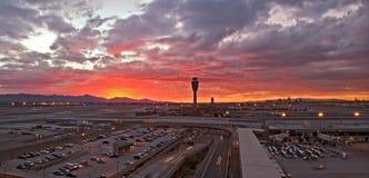 Aeropuerto en la puesta del sol Fotografía de archivo libre de regalías