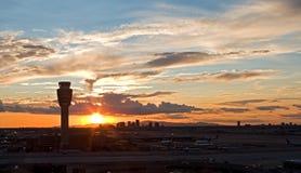 Aeropuerto en la puesta del sol Imagen de archivo