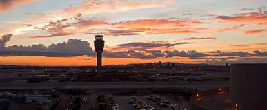 Aeropuerto en la puesta del sol Imágenes de archivo libres de regalías