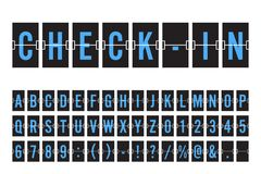 Aeropuerto Flip Board Panel Font mecánico Fotografía de archivo