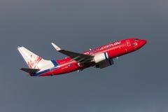 Aeropuerto internacional de salida de Boeing 737-7FE VH-VBZ Melbourne de las líneas aéreas de Virgin Blue Fotos de archivo libres de regalías