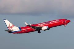 Aeropuerto internacional de salida de Boeing 737-8FE VH-VOT Melbourne de las líneas aéreas de Virgin Blue Imagen de archivo