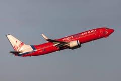 Aeropuerto internacional de salida de Boeing 737-8FE VH-VUI Melbourne de las líneas aéreas de Virgin Blue Imágenes de archivo libres de regalías