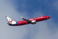 Aeropuerto internacional de salida de Boeing 737-8FE VH-VUS Melbourne de las líneas aéreas de Virgin Blue Imagen de archivo