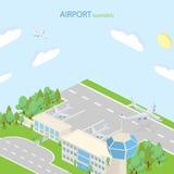 Aeropuerto isométrico con el terminal de los planes y el transporte público stock de ilustración
