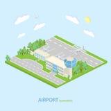 Aeropuerto isométrico con el terminal de los planes y el transporte público Isom Fotos de archivo libres de regalías