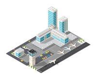 Aeropuerto isométrico de la ciudad stock de ilustración