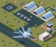 Aeropuerto militar isométrico 3d polivinílico bajo de los aviones de los E.E.U.U. ilustración del vector
