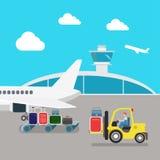 Aeropuerto plano del vector: avión, equipaje, cargamento, equipaje Imagen de archivo libre de regalías