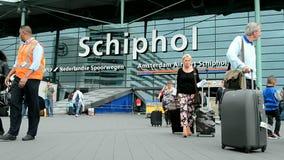 Aeropuerto Schiphol, detalles de Amsterdam del turismo, almacen de metraje de vídeo