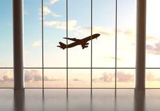 Aeropuerto y aeroplano foto de archivo