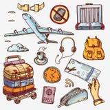 Aeropuerto y concepto de los iconos del transporte aéreo que viaja encendido Fotografía de archivo