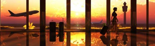 aeropuertoilustracion 3d Arkivbilder